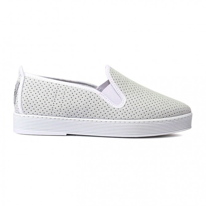 Flossy slip-on jugetón blanco